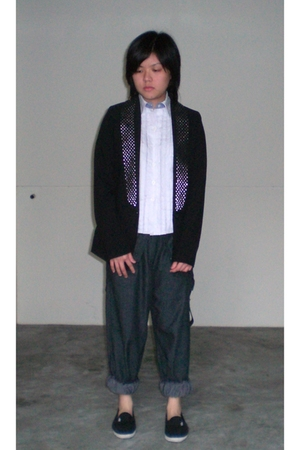 blazer - trioon blouse - WoodWood pants - shoes