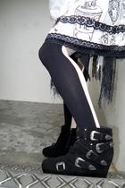 black PedderRed boots - white kathrynpugwash skirt - black blogshop tights - bla