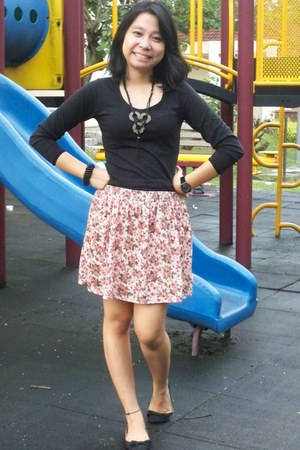 handmade necklace - Forever 21 skirt - cotton on flats
