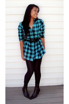 Urban Outfitters blouse - Forever21 leggings - TJ Maxx boots - Forever21 belt