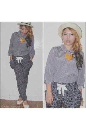 animal print top - pajama pants
