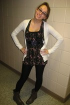 Old Navy cardigan - Marshalls shirt - Forever 21 belt - Juicy Couture leggings -