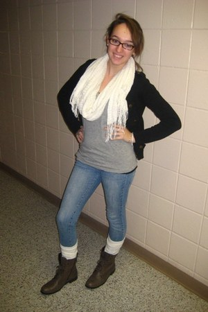 Forever 21 cardigan - Forever 21 shirt - Forever 21 jeans - Forever 21 scarf - T