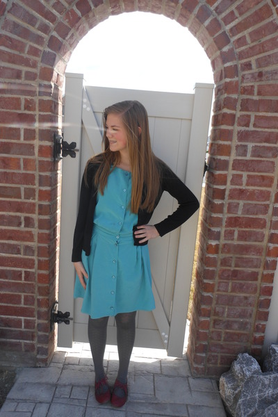 sky blue thrifted dress - maroon Forever young shoes - charcoal gray tights