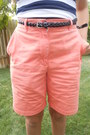 Salmon-thrifted-shorts-navy-valshi-top-black-rue-21-belt