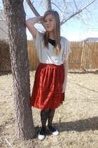 black DIY tights - off white Ross shirt - brick red Down East Basics skirt