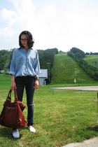 balenciaga purse - TOMS shoes - current&elliott jeans - Zara shirt