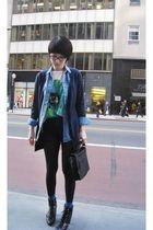 H&M cardigan - Topshop shirt - Cheap Monday shorts - Nine West boots - PROENZA S