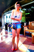 white Mango top - red shoes - shorts - Louis Vuitton purse - red prp belt
