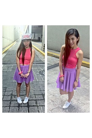 light purple skater skirt - hat - hot pink cropped top - white Converse sneakers