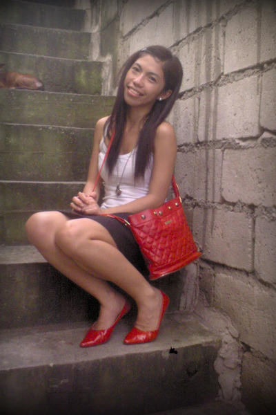top - skirt - Schu shoes - thrifted purse