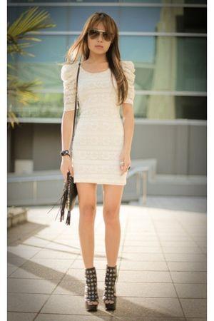 white Forever 21 dress - black Christopher Kane for Topshop shoes - black purse