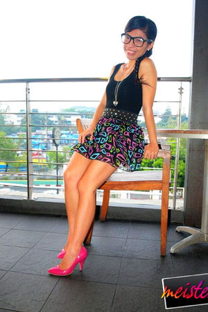 black calvin klein top - vintage dress - pink from japan shoes