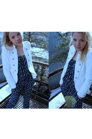 white Zara jacket - navy Pimkie romper