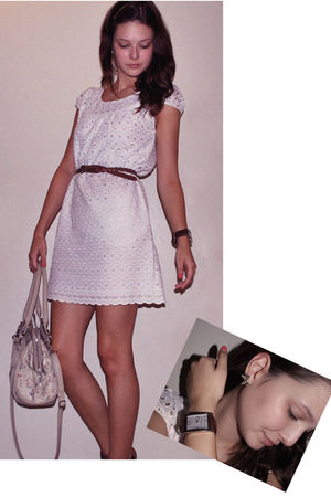 white Lavand dress - River Island bag - brown Primark belt - gold Accessorize ac