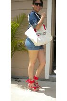 Guess shorts - top - sunglasses - shoes - Michael Kors purse