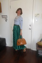 green maxi skirt American Apparel skirt - light brown DKNY bag