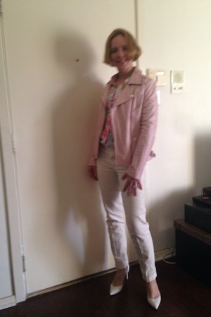 white white pumps Nine West shoes - light pink leather jacket jacket