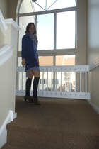 periwinkle guess by marciano dress - brown suede Circa Joan & David shoes