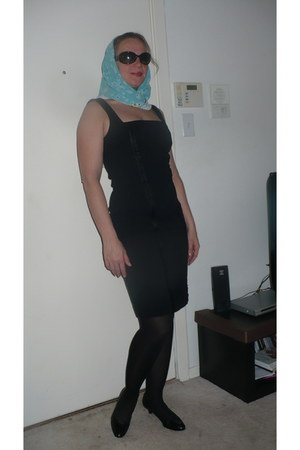 black banana republic dress - sky blue Jason Wu scarf - black Cole Haan pumps
