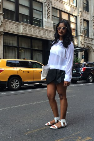 Pleather Skort skirt - Zara top