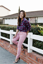 crimson plaid American Eagle shirt - bubble gum asos jeans