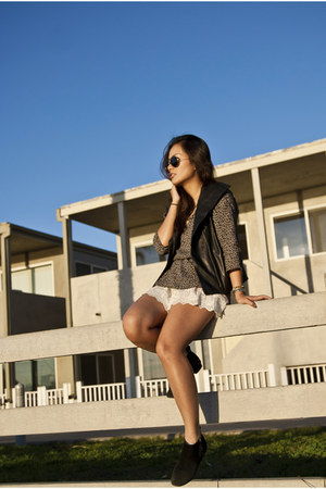 leather Marc New York vest - folly DV by dolce vita boots - lace Zara shorts