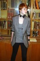 blazer - jeans - top - tie