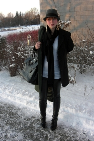 vintage blazer - Bik Bok top - pants - H&M scarf - Din Sko boots - H&M hat
