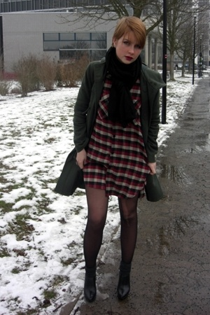 Bik Bok shirt - Guess boots - coat - H&M scarf