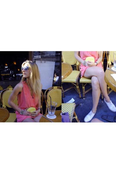 bubble gum Zara dress - white new look shoes - light yellow Zara bag