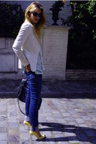 light yellow Zara shoes - navy acne jeans - white Zara blazer