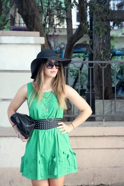 cotton green dress - floppy hat hat - faux leather Zara bag - H&M sunglasses