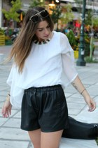 white bettina blouse - leather black Zara shorts - gold vintage sunglasses