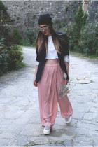 pink Zara pants - leopard print H&M hat - Massimo Dutti blazer - H&M sunglasses