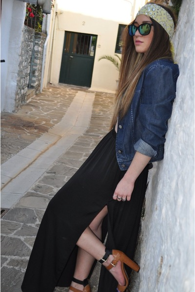 black Bershka sunglasses - Zara shoes - black Zara skirt