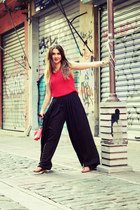 Zara pants - leather Pinko bag - gold AnChus necklace - Zara flats