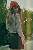 leather Zara shorts - neon H&M hat - mirrored Bershka sunglasses - Mango blouse