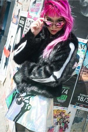 faux fur iron fist jacket - black and white LONG CLOTHING shirt