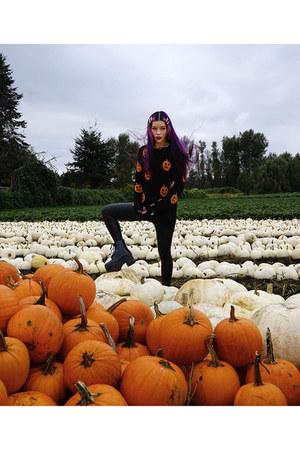 rainboots Jeffrey Campbell boots - la carmina pumpkin halloween sweater