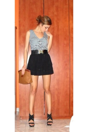 black H&M skirt - bronze bag - white H&M top - black Zara belt