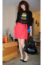 t-shirt - handmade skirt - sweater - payless shoes