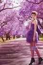 Purple-dress-purple-purse-black-shoes-silver-accessories