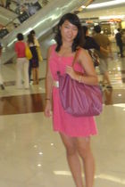 pink J Crew dress - white Yves Saint Laurent belt - purple fake Longchamp bag -