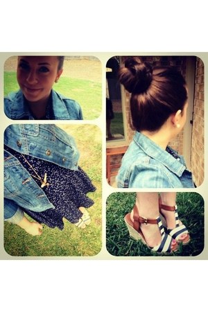 denim Forever 21 jacket - denim detailing BCBG shoes - white stars H&M dress