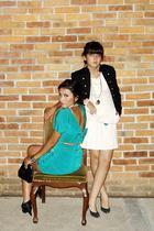 vintage dress - vintage boots - Zara belt - LOB blazer - vintage dress - vintage
