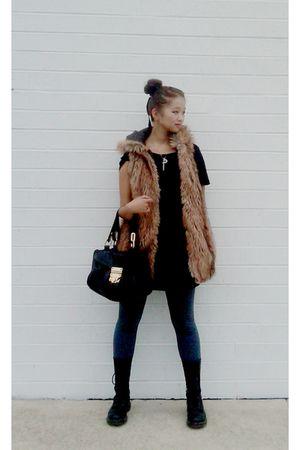 black American Apparel t-shirt - brown Zara vest - gray A-Land leggings - black