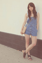navy denim overalls vintage romper - neutral mac clutch Rebecca Minkoff bag
