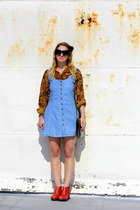 sky blue denim jumper vintage dress - red leather zip up Anthropologie boots