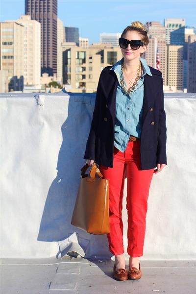 light brown oversized tote Zara bag - navy pea Jcrew coat